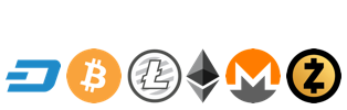 Cryptocurrencies Accepted: Bitcoin, Dash, Litecoin, Ether, Monero, ZCash